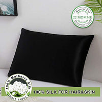 UORG 100 Mulberry Silk Pillowcase 22 Momme for Hair and Skin 600 Thread Count Pure Natural Silk Pillowcase Both Sides with Zipper Hypoallergenic Soft Breathable 1 Pc Queen 20x30 Black 4x3-B07WSHF54P