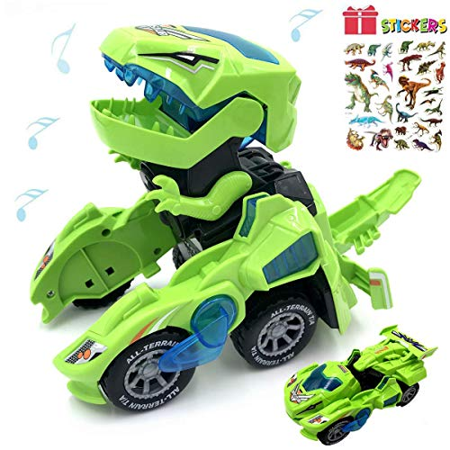 Dinosaur Cars Transforming ToysTransforming Dinosaur LED Car with Light Sound Kids ToyDinosaur Cars Combined Into OneAutomatic Transformation28 Year Old Boys Girls Toddlers Kids Gift Green mzo-B07YDK5QWP