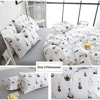 BuLuTu Cotton Cactus Print Bed Pillowcases Set of 2 Queen White Natural Kids Pillow Covers Decorative Standard Boys Girls Envelope Closure EndPremiumUltra SoftHypoallergenic 2 Pieces2026 vLl-B073VM1SMC