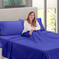 Nestl Bedding Soft Sheets Set 4 Piece Bed Sheet Set 3Line Design Pillowcases Wrinkle Free 1016 Good Fit Deep Pockets Fitted Sheet Warranty Included Full Double Royal Blue p0c-B00W2FFEES