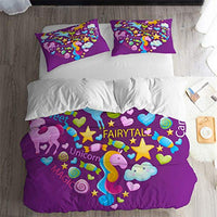 ARL HOME Unicorn Bedding 3PC Full Size Unicorn Duvet Cover Kids Girls Bedroom Cartoon Bed Set Cute Unicorn Quilt Cover with 2 Pillowcase Soft Cute Violet Unicorn Comforter Cover 0Ni-B07VZV2JQD