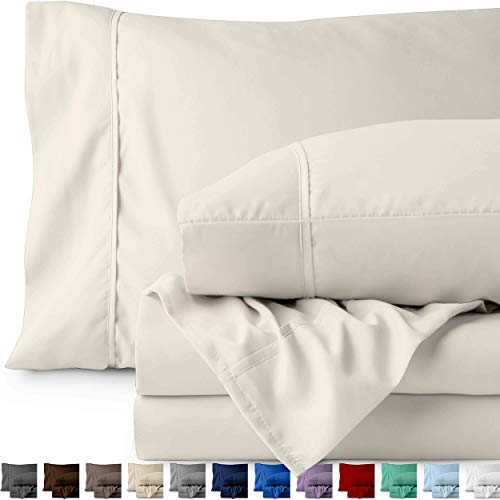 Bare Home Twin XL Sheet Set College Dorm Size Premium 1800 UltraSoft Microfiber Sheets Twin Extra Long Double Brushed Hypoallergenic Wrinkle Resistant Twin XL Ivory 6rc-B00THMORT2