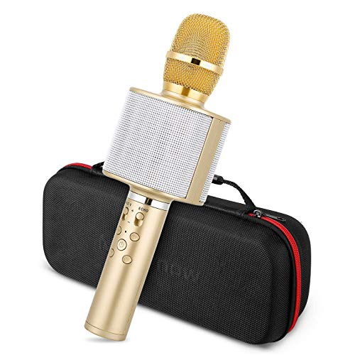 Mbuynow Wireless Karaoke Microphone Bluetooth TWS Portable Handheld Kids Karaoke Mic with Carrying Case Speaker Phone Holder for Kids Adults Home Party Birthday for iPhoneAndroidSmartphoneGold wz8-B07RZJYCJS