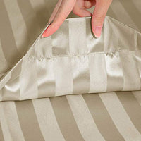 uxcell 2 Pack Satin Taupe Striped Pillowcases King Size Silky Pillow Cases Covers for Hair and Skin 20x40inch zqy-B07SQ1K8HL