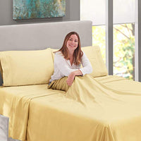 Nestl Bedding Soft Sheets Set 4 Piece Bed Sheet Set 3Line Design Pillowcases Easy Care Wrinkle Free Good Fit Deep Pockets Fitted Sheet Warranty Included Full Vinalla Yellow iDz-B01N6PKCF7