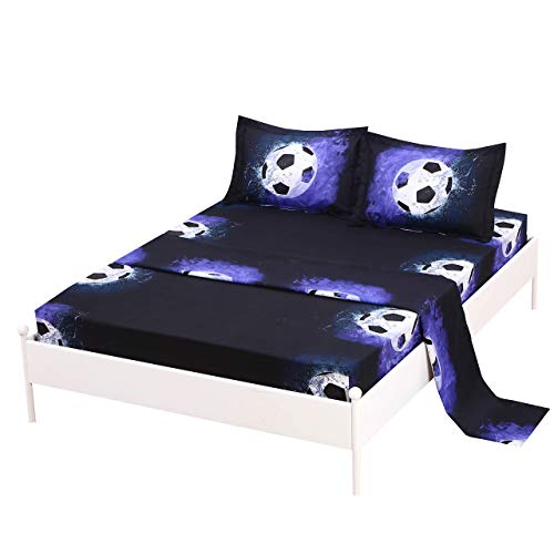 SDIII 4PCS Soccer Sheet Sets Full Size Sport Bedding Sheet Sets with Flat Fitted Sheet for Boys Girls and Teens Full Soccer ij3-B07ZNV9HXB