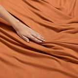 Nestl Bedding Soft Sheets Set 4 Piece Bed Sheet Set 3Line Design Pillowcases Easy Care Wrinkle Free Good Fit Deep Pockets Fitted Sheet Free Warranty Included Full XL Rust WFT-B07612JRZ1