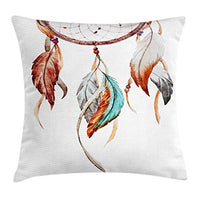 Ambesonne Feather Throw Pillow Cushion Cover Watercolor Dream Catcher Inspirations Traditional Decorative Square Accent Pillow Case 18 X 18 Sienna Seafoam