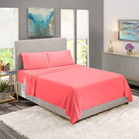 Nestl Bedding Soft Sheets Set 4 Piece Bed Sheet Set 3Line Design Pillowcases Wrinkle Free Good Fit Deep Pockets Fitted Sheet Warranty Included California King Coral Pink XY2-B00VIWSP06