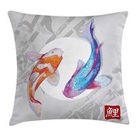 Ambesonne Koi Fish Throw Pillow Cushion Cover Watercolor Style Koi Fish Couple Design with Grunge Brushstrokes Based Paint Decorative Square Accent Pillow Case 24 X 24 Orange Blue