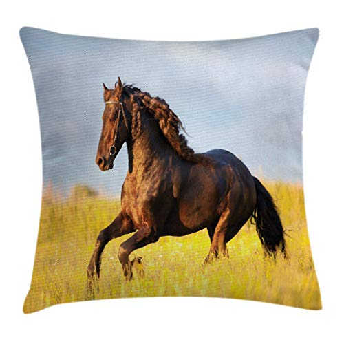 Ambesonne Horses Throw Pillow Cushion Cover Friesian Horse with Mane Gallops in Meadow Mystery Vitality Horse Decorative Square Accent Pillow Case 24 X 24 Yellow Brown