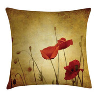 Ambesonne Poppy Throw Pillow Cushion Cover Poppies and Flower Buds on Ambient Dark Grunge Background with Retro Effects Bohemian Decorative Square Accent Pillow Case 16 X 16 Mustard Vermilion