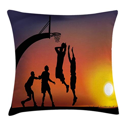 Ambesonne Teen Room Throw Pillow Cushion Cover Boys Playing Basketball at Sunset Horizon Sky with Dramatic Scenery Decorative Square Accent Pillow Case 18 X 18 Dark Coral