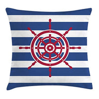 Ambesonne Ships Wheel Throw Pillow Cushion Cover Illustration of Ship Steering Wheel on a Stripped Background Artwok Decorative Square Accent Pillow Case 20 X 20 Navy Blue