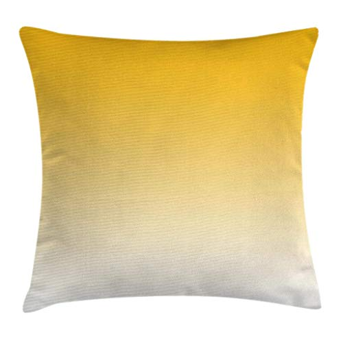 Ambesonne Ombre Throw Pillow Cushion Cover Summer Love on The Beach Theme Inspired for Yellow Lovers Modern Ombre Art Design Decorative Square Accent Pillow Case 16 X 16 Yellow