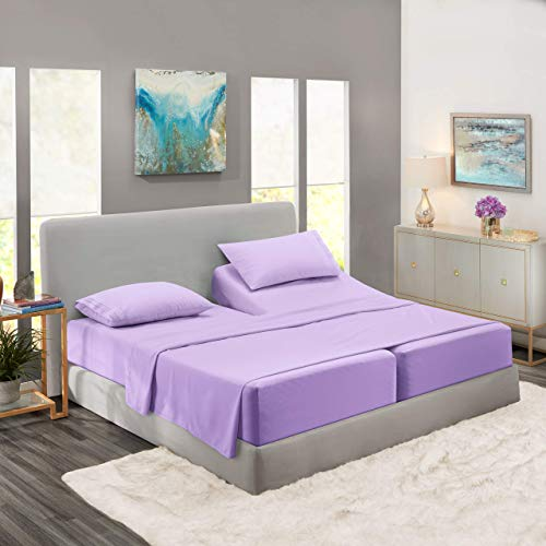 Nestl Bedding 5 Piece Sheet Set 1800 Deep Pocket Bed Sheet Set Hotel Luxury Double Brushed Microfiber Sheets Deep Pocket Fitted Sheet Flat Sheet Pillow Cases Split Cal King Lavender 13y-B07JJ7P8MB