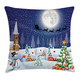 Ambesonne Christmas Throw Pillow Cushion Cover Winter Season Snowman Xmas Tree Santa Sleigh Moon Present Boxes Snow and Stars Decorative Square Accent Pillow Case 24 X 24 White Blue