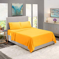 Nestl Bedding Soft Sheets Set 4 Piece Bed Sheet Set 3Line Design Pillowcases Easy Care Wrinkle Free 1016 Good Fit Deep Pockets Fitted Sheet Warranty Included King Yellow Eth-B00W2FEE4O