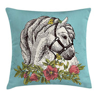 Ambesonne Floral Throw Pillow Cushion Cover Boho Style Horse Opium Blossoms Poppy Wreath Illustration Decorative Square Accent Pillow Case 16 X 16 Turquoise Green