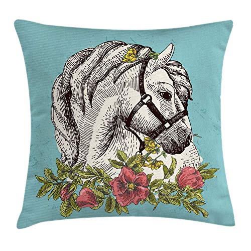 Ambesonne Floral Throw Pillow Cushion Cover Boho Style Horse Opium Blossoms Poppy Wreath Illustration Decorative Square Accent Pillow Case 24 X 24 Turquoise Green