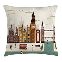 Ambesonne London Throw Pillow Cushion Cover Travel Scenery Famous City England Big Ben Telephone Booth Westminster Decorative Square Accent Pillow Case 16 X 16 Cream