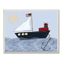 The Kids Room by Stupell Crab on a Boat Rectangle Wall Plaque