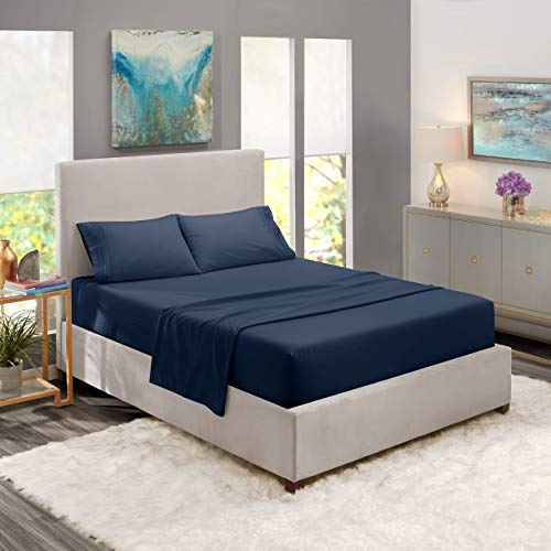 Nestl Bedding Soft Sheets Set 4 Piece Bed Sheet Set 3Line Design Pillowcases Easy Care Wrinkle Free Good Fit Deep Pockets Fitted Sheet Warranty Included Full XL Navy Blue Ndz-B07612J6BR