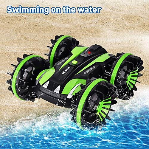 Flyglobal Remote Control Car Water and Land 4WD Waterproof RC Car Boat Truck 2.4Ghz Double Sided Rotate 360 Degree Spinning and Flips Car Vehicles Toys for Kids Blue
