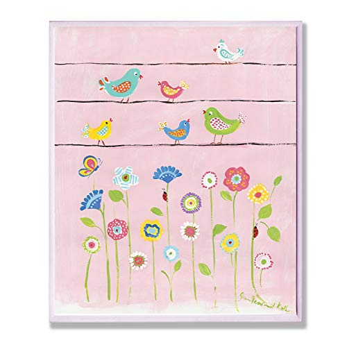 The Kids Room by Stupell Birds on a Wire with Flowers Rectangle Wall Plaque Discontinued by Manufacturer