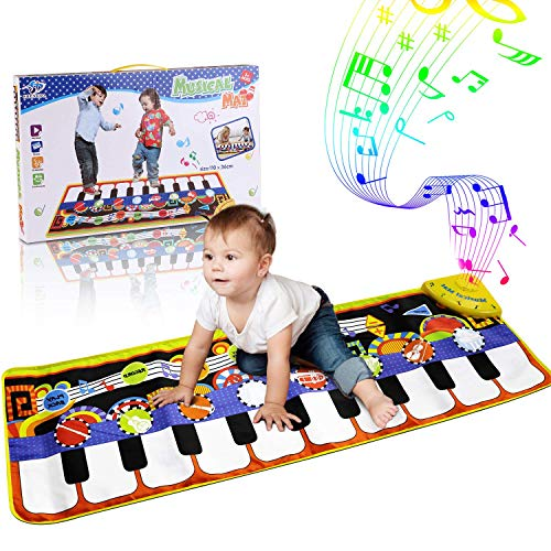 RenFox Kids Musical Mats Music Piano Keyboard Dance Floor Mat Carpet Animal Blanket Touch Playmat Early Education Toys for Baby Girls Boys433x142in Ifq-B07MBDZCXT