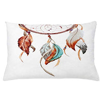 Ambesonne Feather Throw Pillow Cushion Cover Watercolor Dream Catcher Inspirations Traditional Decorative Rectangle Accent Pillow Case 26 X 16 Sienna Seafoam