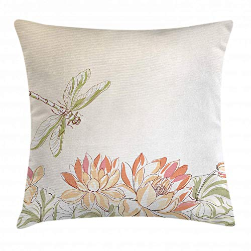 Ambesonne Dragonfly Throw Pillow Cushion Cover Lotus Flower Field with Dragonfly Flying Oriental Blooms Print Decorative Square Accent Pillow Case 16 X 16 Cream Peach