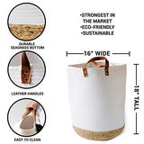 Extra Large Cotton Rope Basket 18 x 16 Woven Baby Laundry Basket for Blankets Seagrass Bottom Rope Basket Living Room Decor and Storage Bins with Heavy Duty Handles Leather BhD-B07QBYTMWL