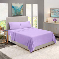 Nestl Bedding Soft Sheets Set 4 Piece Bed Sheet Set 3Line Design Pillowcases Easy Care Wrinkle Free Good Fit Deep Pockets Fitted Sheet Free Warranty Included Full Lavender 0of-B00VF290IK