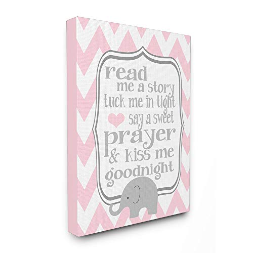 The Kids Room by Stupell Art Read Me A StoryElephant in Pink Chevron 30x40