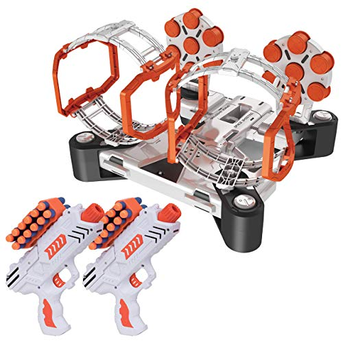 USA Toyz AstroShot Gyro Rotating Target Shooting Games Compatible Nerf Targets w 2 Blaster Toy Guns and 24 Foam Darts