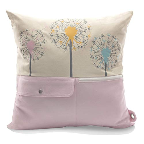 mimish Naturalist Pocket Throw Pillow Stylish Pillows with Storage for Electronics Remotes and More Cotton Cargo Pocket Wishes