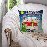 EMMTEEY Holiday Pillow Covers20x20 Pillow Covers Home Throw Pillow Covers Christmas Card with Winter Camp Christmas Vintage Travel Poster with Travel Trailer Square Double Sided PrintingGreen Red Bw1-B07SX6Y21N
