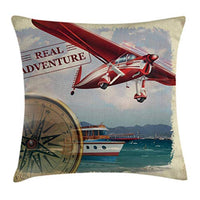 Ambesonne Adventure Throw Pillow Cushion Cover Real Adventure Words with Coastline and a Red Airplane Journey Travel Themed Art Decorative Square Accent Pillow Case 16 X 16 Ruby Beige