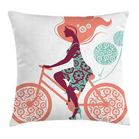 Ambesonne Floral Throw Pillow Cushion Cover Flower Arrangement Silhouette of a Long Hair Girl on Bicycle Illustration Decorative Square Accent Pillow Case 20 X 20 Seafoam Coral