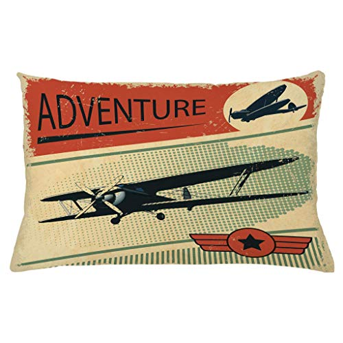 Ambesonne Vintage Throw Pillow Cushion Cover Nostalgic Small on Dotted Grunge Backdrop Epic Adventure Airpark Plane Graphic Decorative Rectangle Accent Pillow Case 26 X 16 Taupe Orange