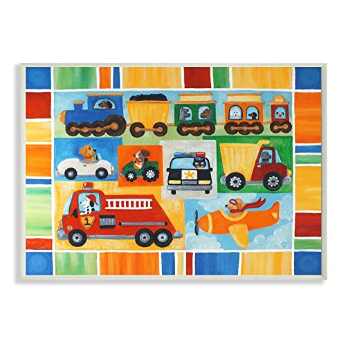 The Kids Room by Stupell Doggies Driving Vehicles Rectangle Wall Plaque 11 x 05 x 15 Proudly Made in USA
