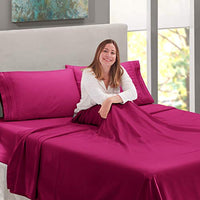 Nestl Bedding Soft Sheets Set 5 Piece Bed Sheet Set 3Line Design Pillowcases Easy Care Wrinkle Free 2 Fit Deep Pocket Fitted Sheets Free Warranty Included Split King Magenta yjW-B01N4TYD6R