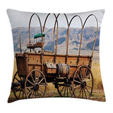 Ambesonne Western Throw Pillow Cushion Cover Photo of Old Nostalgic Wild West American Cart Carriage in The Farm Texas Style Decorative Square Accent Pillow Case 16 X 16 Brown Caramel