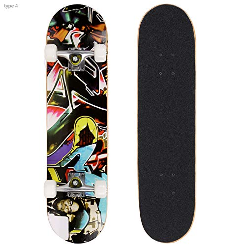 Smibie Skateboards Pro 31 inches Complete Skateboards for Teens Beginners Girls Boys Kids Adults 9 Layer Maple Wood Skateboard 7h8-B07Z66NM7B