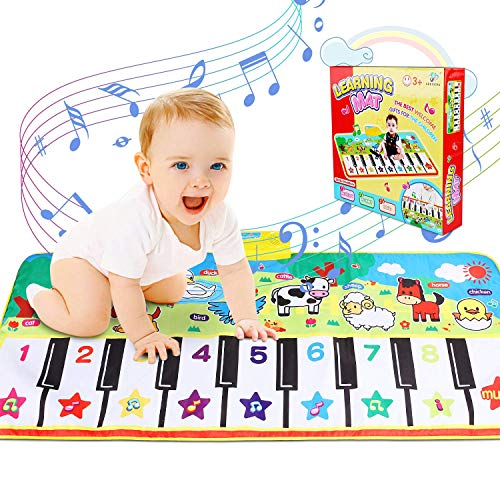 RenFox Musical Mats Keyboard Piano Play Mat Dance Floor Music Mat Animal Blanket Carpet Playmat Early Educational Toys for Kids Baby Toddlers Boy Girl532x236 in 1gQ-B07MBFC4W1