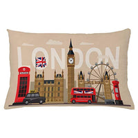 Ambesonne London Throw Pillow Cushion Cover Famous Britain Landmarks Monuments Art Pattern Touristic Travel Destination Decorative Rectangle Accent Pillow Case 26 X 16 Beige