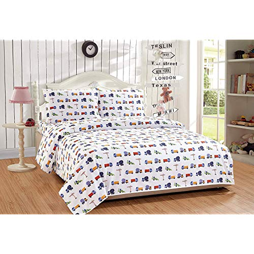 Elegant Home Multicolors Construction Equipment Trucks Cement Mixers Backhoes Design 3 Piece Printed Sheet Set with Pillowcase Flat Fitted Sheet for BoysKidsTeens Construction Blue Twin Size JME-B07RTHBD8Y