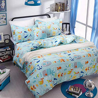 Toddler Bedding Sets Ocean Bedding Blue Fishes Printed Duvet Cover Set 3Piece Twin Size No Comforter Included FIO-B07874YZNQ