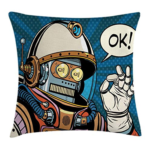 Ambesonne Modern Throw Pillow Cushion Cover Futuristic Comics Super Heros Like Robot in a Spacesuit with OK Words Artwork Print Decorative Square Accent Pillow Case 18 X 18 Blue Cream